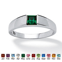 SETA JEWELRY Princess-Cut Birthstone Stackable Ring in Sterling Silver