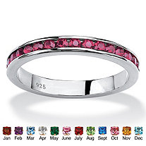 Round Birthstone Stackable Eternity Band in Sterling Silver