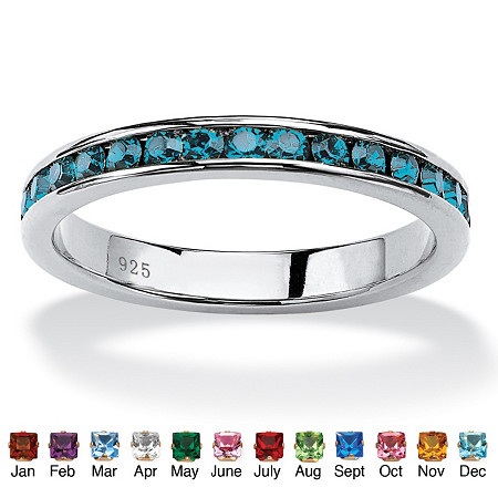 Round Birthstone Stackable Eternity Band in Sterling Silver at PalmBeach Jewelry