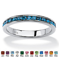 Round Simulated Birthstone Stackable Eternity Band in Sterling Silver