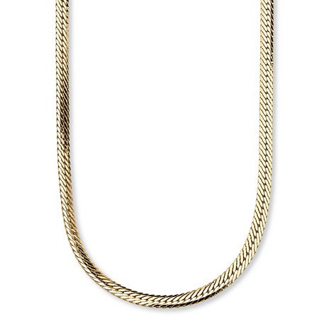 Herringbone Chain Necklace in Yellow Gold Tone 20