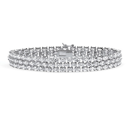 "28.60 TCW Oval Cut Cubic Zirconia Sterling Silver Triple-Row Tennis Bracelet 8 1/2"" at PalmBeach Jewelry"