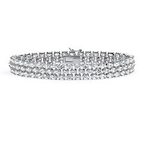 28.60 TCW Oval Cut Cubic Zirconia Sterling Silver Triple-Row Tennis Bracelet 8 1/2