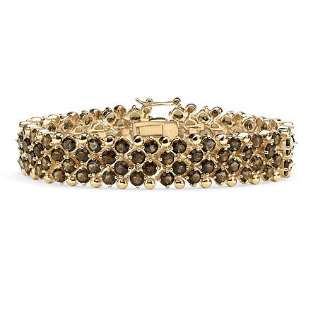 20 TCW Round Smoky Quartz Tennis Bracelet in 14k Gold-Plated at PalmBeach Jewelry