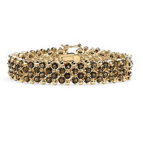 SETA JEWELRY 20 TCW Round Smoky Quartz Tennis Bracelet in 14k Gold-Plated