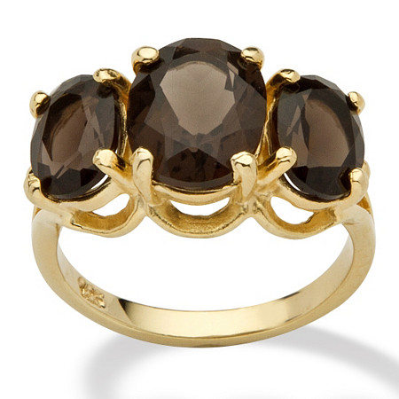 4.90 TCW Oval Cut Genuine Smoky Quartz 14k Yellow Gold over Sterling Silver 3-Stone Ring at PalmBeach Jewelry