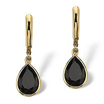 Pear-Shaped Genuine Onyx 18k Yellow Gold-Plated Drop Earrings