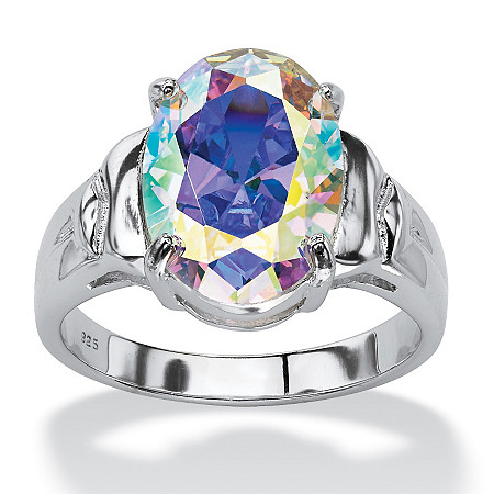 5.81 TCW Oval-Cut Aurora Borealis Cubic Zirconia Cocktail Ring in Sterling Silver at PalmBeach Jewelry