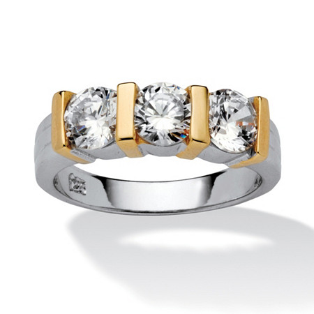 1.50 TCW Round Cubic Zirconia Three-Stone Bridal Band in Sterling Silver with Gold Tone Accents at PalmBeach Jewelry