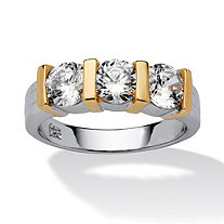 SETA JEWELRY 1.50 TCW Round Cubic Zirconia Three-Stone Bridal Band in Sterling Silver with Gold Tone Accents