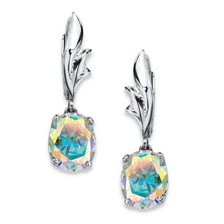 5.08 TCW Oval-Cut Aurora Borealis Cubic Zirconia Drop Earrings in Sterling Silver at PalmBeach Jewelry