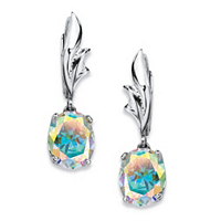 Aurora Borealis Cubic Zirconia Drop Earrings In Sterling Silver ONLY $20.99