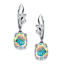 5.08 TCW Oval-Cut Aurora Borealis Cubic Zirconia Drop Earrings in Sterling Silver