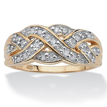 1/4 TCW Round Diamond in Solid 10k Yellow Gold Braid Ring at PalmBeach Jewelry