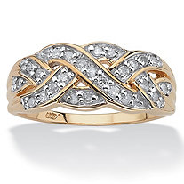 1/4 TCW Round Diamond in Solid 10k Yellow Gold Braid Ring