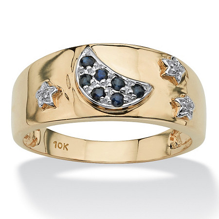 .23 TCW Round Blue Genuine Sapphire Diamond Accent 10k Gold Moon & Stars Ring at PalmBeach Jewelry
