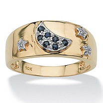SETA JEWELRY .23 TCW Round Blue Genuine Sapphire Diamond Accent 10k Gold Moon & Stars Ring