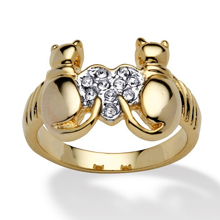 Round Crystal Yellow Gold-Plated Cats and Heart Ring at PalmBeach Jewelry