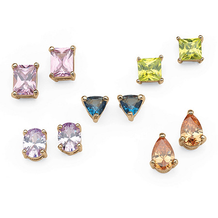 11.42 TCW Multicolor Cubic Zirconia 5-Pair Multi-Cut Set of Stud Earrings in Yellow Gold Tone at PalmBeach Jewelry