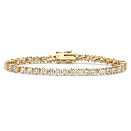 "5 TCW Round Cubic Zirconia Tennis Bracelet 18k Gold over Sterling Silver 7 1/4"" at PalmBeach Jewelry"