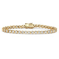 5 TCW Round Cubic Zirconia Tennis Bracelet 18k Gold over Sterling Silver 7 1/4""
