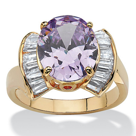 4.69 TCW Oval-Cut Purple Cubic Zirconia 14k Yellow Gold-Plated Half Halo Ring at PalmBeach Jewelry