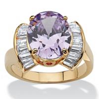 Purple Cubic Zirconia Half Halo Ring ONLY $10.99