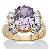 4.69 TCW Oval-Cut Purple Cubic Zirconia 14k Yellow Gold-Plated Half Halo Ring