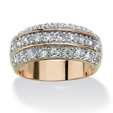 1.68 TCW Round Cubic Zirconia Triple Row Anniversary Ring in 14k Gold-Plated at PalmBeach Jewelry