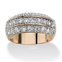 1.68 TCW Round Cubic Zirconia Triple Row Anniversary Ring in 14k Gold-Plated