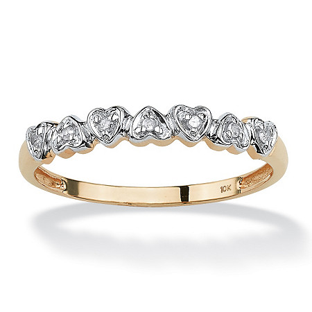 Diamond Accent Multi-Heart Promise Band Ring in Solid 10k Gold at PalmBeach Jewelry