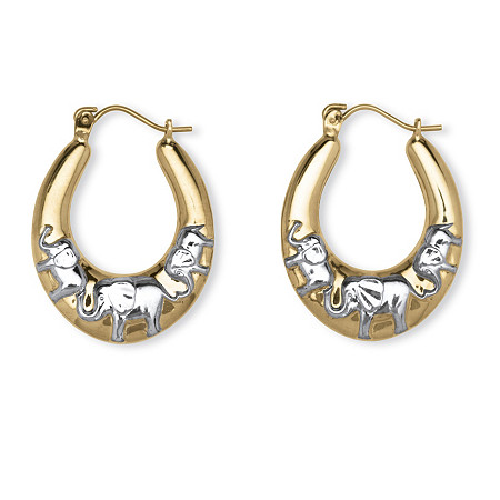 Elephant Hoop Earrings in Two-Tone 10k Gold (1