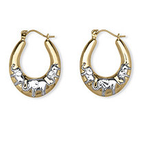"Elephant Hoop Earrings in Two-Tone 10k Gold (1"")"
