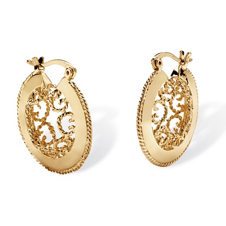 "Scroll Cutout Hoop Earrings in Yellow Gold Tone (1.25"") at PalmBeach Jewelry"