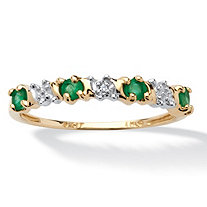 .32 TCW Genuine Round Emerald and Diamond accent Band in 10k Gold