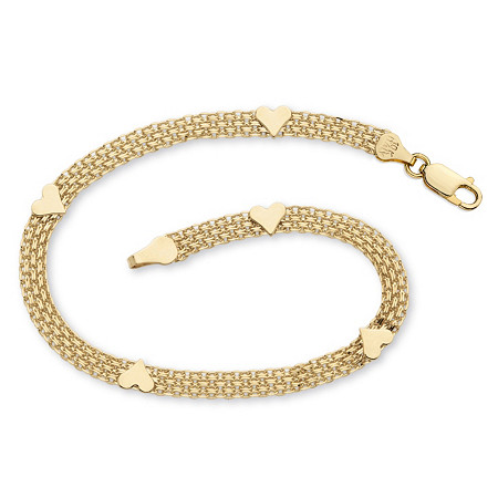 "Solid 10k Yellow Gold Bismark-Link Heart Bracelet 7.25"" at PalmBeach Jewelry"