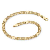 Solid 10k Yellow Gold Bismark-Link Heart Bracelet 7.25""