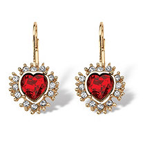 SETA JEWELRY Simulated Red Ruby Heart-Shaped Halo Drop Earrings 5 TCW in Yellow Gold Tone