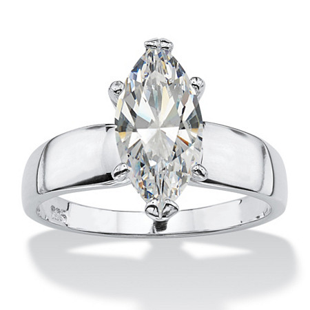2.11 TCW Marquise-Cut Cubic Zirconia Sterling Silver Solitaire Ring at PalmBeach Jewelry