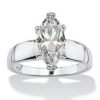 2.11 TCW Marquise-Cut Cubic Zirconia Sterling Silver Solitaire Ring