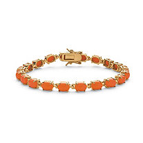 SETA JEWELRY Oval-Cut Simulated Coral Cabochon Tennis Bracelet in 14k Gold-Plated 7.5