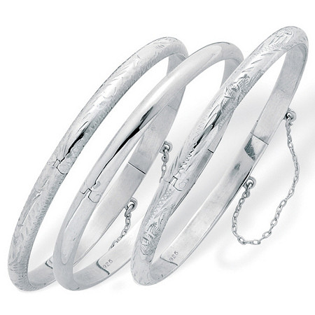 Polished, Engraved and Floral Three-Piece Bangle Set in .925 Sterling Silver at PalmBeach Jewelry