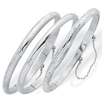 Polished, Engraved and Floral Three-Piece Bangle Set in .925 Sterling Silver