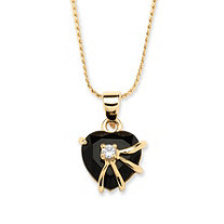 Heart-Shaped Onyx with Cubic Zirconia Accent Pendant Necklace in 14k Gold-Plated