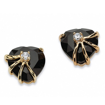 Heart-Shaped Genuine Onyx Cubic Zirconia Accent 14k Yellow Gold-Plated Stud Earrings at PalmBeach Jewelry