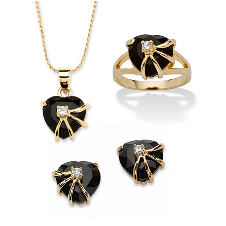 Heart-Shaped Genuine Onyx Pendant, Earrings and Ring Set in 14k Yellow Gold-Plated at PalmBeach Jewelry