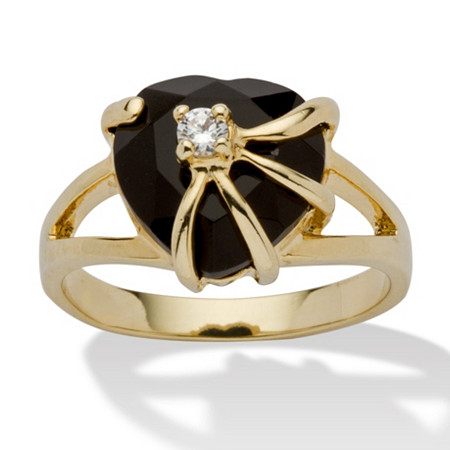 Heart-Shaped Genuine Onyx Cubic Zirconia Accent 14k Yellow Gold-Plated Cocktail Ring at PalmBeach Jewelry