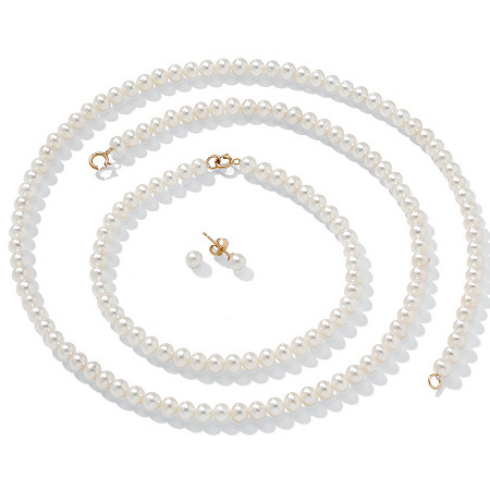 Cultured Freshwater Pearl Necklace, Bracelet and Earrings in Solid 14k Gold 18