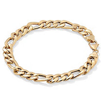 "Men's Figaro-Link Chain Bracelet in 10k Yellow Gold 8"" (8.5mm)"
