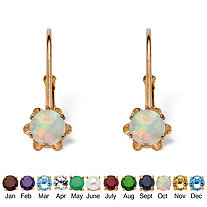 Round Genuine Birthstone 10k Gold Lever Back Buttercup-Set Earrings